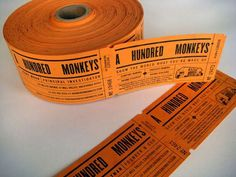 A Hundred Monkeys Ticket Style Business Cards by Croxton Design