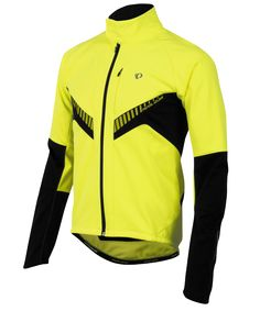 Pearl Izumi Elite Softshell Jacket: Yellow high visibility cycling jacket for biking in cold weather