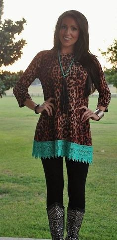 Beautiful leopard tunic with turquoise lace hem. Super soft . Runs as follows: SMALL 2-4 MEDIUM 6-8 LARGE 10-12 XLARGE 14-16 2X 18-20 3X 22-24  Classy Cowgirl Co- Gypsy Cowgirl ,Fun & Funky Western clothing, jewelry, & Accessories by Lane Boots, Junk Gypsy, R. Cinco Ranch,Hooey, Vocal, Ali Dee, Pink Panache, ATX Mafia, Urban Mangoz, Montana West, L&B, Beaver Soap, Crazy Train, cowgirl tuff, Liberty black boots, Classy Cowgirl Co, Southern Grace, Sbicca Shoes, Jewelry Junkie