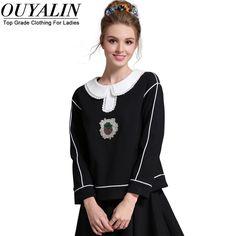 L- 5XL Fall  Long Sleeve Blouse    Cute White Peter Pan Collar   Black High Quality