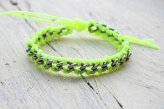 Bracciale intreccio Colorfull FLUO Double - Giallo di Banana Butterfly su DaWanda.com