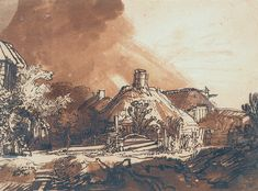 Rembrandt http://www.rembrandtpainting.net/rmbrndt_selected_drawings/new_images/cottages.jpg