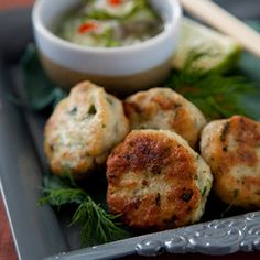 Thai Fish Cakes with Cucumber Relish by Andrew Rudd. | These Thai fish cakes are bursting with flavour and are great as a starter or miniature versions for canapés.