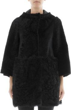 Drome Black Fur Jacket With Hoodie