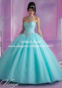 New Arrival Crystal Corset Sweetheart Organza Aqua Quinceanera Dresses Ball Gowns MQ088 Sweet 16 Dresses
