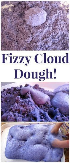 Make Fizzy Cloud Dough! Once the kids are done with the sensory aspect move on to the science of fizziness! from http://PowerfulMothering.com
