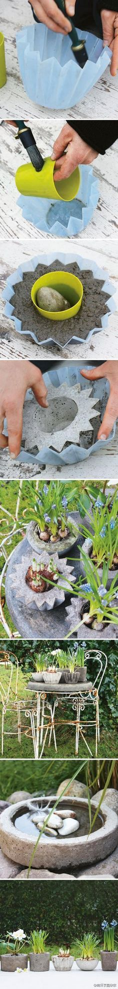 Make Your Own Concrete Planters: Concrete planters are made using a small container and a large container as molds. How far you push in the interior container will affect the thickness of the walls of your finished concrete planter. Once finished the foliage and bright blooms of your plants create vivid contrast with the textured gray container. .... excerpted from Concrete Garden Projects by Malin Nilsson and Camilla Arvidsson