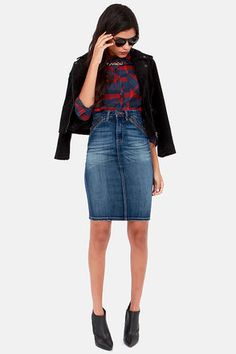 Blank NYC Rebel Denim Pencil Skirt | lulus