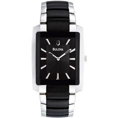 Bulova Men's Black Plated Stainless Steel Bracelet Watch 35mm 98A117 ($239) ❤ liked on Polyvore featuring men's fashion, men's jewelry, men's watches, no color, mens watches jewelry, stainless steel mens watches, bulova mens watches, mens rectangular watches and mens black face watches