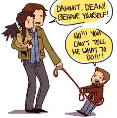 """GIMME BACK MY ANGEL!!!!!"" ""Dean, Cas isn't a commodity! And you can have him back when you—OW, STOP THAT!!!!"""