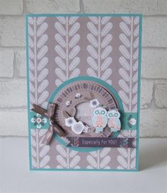 Handmade Best Wishes Greeting Card featuring a cute pair of owls! Crafts To Do, Arts And Crafts, Paper Crafts, Craft Stalls, Owl Card, Embossing Folder, Cardmaking, Birthday Cards, Christmas Cards