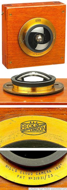 Beck: Hill's Cloud Camera (Panoramic) c1920-1923. 3¼×4¼ plates, extreme wide angle lens (180° image).