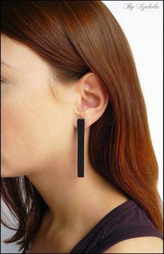 Black earrings / Minimalist Earrings / Geometric Stud by ByIzabela