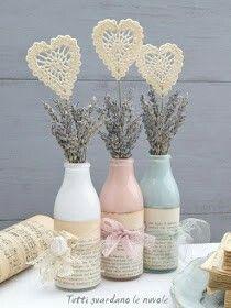 Valentine's Day Decoration - Romantic Decoration Up - Diy fashion - Valentinstag Glass Bottle Crafts, Diy Bottle, Bottle Art, Mason Jar Diy, Mason Jar Crafts, Creative Crafts, Diy And Crafts, Yarn Crafts, Garrafa Diy
