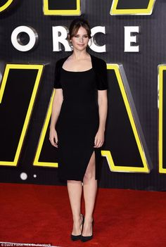 The dark side: Felicity Jones, looked stunning as she stepped out to support Star Wars: The Force Awakens at the highly-anticipated film's European première in Leicester Square, London, on Wednesday night English Actresses, British Actresses, Actors & Actresses, Felicty Jones, Felicity Rose Hadley Jones, Star Wars Girls, Gal Gadot, Looking Stunning, Pretty Woman
