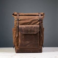 Waxed canvas backpack mens Roll top waxed canvas leather backpack for laptop Waxed cotton rucksack Personalized gift Waxed Canvas Bag, Canvas Leather, Leather Bag, Men's Backpack, Canvas Backpack, Sherlock, Under Armour, Top Backpacks, Leather Backpacks