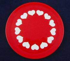 Waechtersbach Red Salad or Dessert Plate Earthenware White Hearts Circle Design | eBay