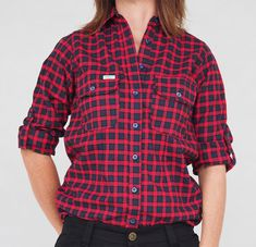 eve workwear Flannel workshirt for women Navy/red Workwear, Flannel, Eve, Button Down Shirt, Men Casual, Mens Tops, Shirts, Collection, Women