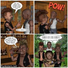 Punksters.net punk rock comic strip number 23: As you can see in this comic strip, singing Kumbaya can even solve arguments in bars.  #comic #bar #fight #kumbaya
