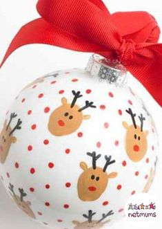 Handmade Christmas fingerprint bauble. Make your very own Christmas decorations to hang on your Christmas tree! Simply decorate the outside of the bauble with some festive finger painting.