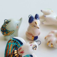 Ceramic / pottery clay / paper clay / polymer clay mini animals with a touch of gold....Totems by Small Wild Shop