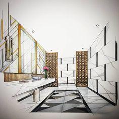 "801 Likes, 42 Comments - Tama Vajrabukka (@tama_ov66) on Instagram: ""Living Hall #handdraw #perspective #interior #design #penang #interiordesignsketch #tamasketch…"""