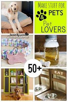 50+ things to make for pets and pet people @savedbylove Animal Crafts, Dog Crafts, Animal Projects, Diy Projects, Pet Craft, How To Make Diy, Diy Pour Chien, Dogs Of The World, Diy Things
