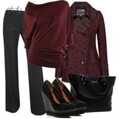Oxblood slouchy top, dark trews and a darling coat and wedges. I can't wait for next year's cooling season!