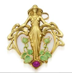 An art nouveau opal, ruby and enamel pendant, French, circa 1900  designed as a maiden on a background of opal, accentuated by a cabochon ruby and enamel flowers; suspended by a later fourteen karat gold fancy-link chain; with French assay marks; pendant mounted in eighteen karat gold; gross weight approximately: 53.4 grams; length of pendant: 2in.; length of chain: 18 1/2in. (some loss to enamel)