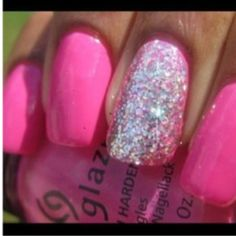 hot pink with silver sparkles