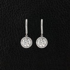 Diamond Dangle Earrings with Halo – CRAIGER DRAKE DESIGNS®