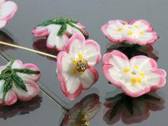 Handmade Lampwork Beads  glass flowers by JewelryBeadsByKatie
