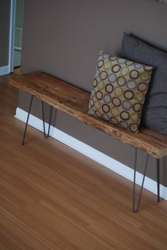 Items similar to Industrial wood bench with mid century hairpin legs on Etsy Reclaimed wood table Rustic Wood Bench, Industrial Bench, Reclaimed Wood Benches, Reclaimed Wood Projects, Modern Industrial, Rustic Modern, Dining Table With Bench, Wood Table, Diy Furniture