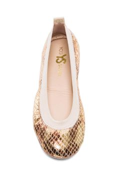 10841c0bbcbde3 Yosi Samra Samara Metallic Python Leather Flat in Gold   Yosi Samra