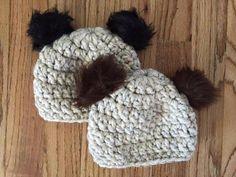 Baby/ kids Bear Beanie with faux pom pom ears in brown