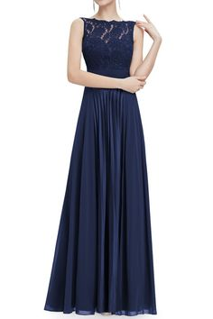 Floor Length Lace, Chiffon and satin pleated Bridesmaid Dress in Navy evening gown, party dress