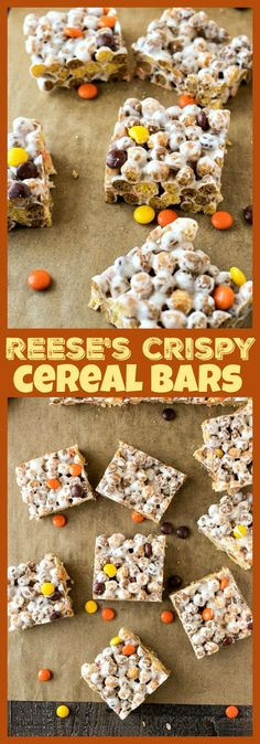 Reese's Crispy Cereal Bars – You're average rice crispy treats are getting a makeover thanks to lots of peanut butter and chocolate. Made only with Reese's Puffs cereal, Reese's Pieces, marshmallows and butter, this will be your new favorite afternoon treat! #dessert #recipe #peanutbutter #chocolate #snack #reeses #bars