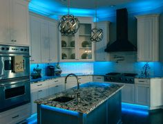 Full Color LED under cabinet kitchen accent Lighting By RailTech LED – Beleuchtung Accent Lighting, Strip Lighting, Lighting Design, Lighting Ideas, Task Lighting, Office Lighting, Small Kitchen Lighting, Kitchen Lighting Fixtures, Led Under Cabinet Lighting