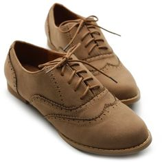 $18  Amazon.com: Ollio Womens Shoes Ballet Flats Loafers Faux-Suede Wingtip Oxford Lace Ups: Shoes