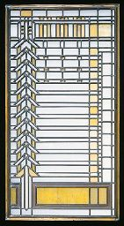 LEADED GLASS WINDOW  DESIGNED BY FRANK LLOYD WRIGHT, EXECUTED BY LINDEN GLASS CO. FOR THE DARWIN D. MARTIN HOUSE, BUFFALO, NEW YORK, CIRCA 1903