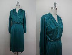 vintage 1970s dress / 70s teal dress with by livinvintageshop, $55.00
