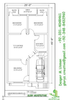 5 Marla House Plan And Map With Detail 25x33 House Plan