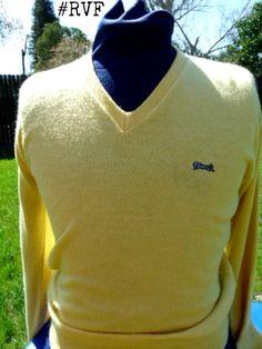 ORIGINAL  mens 1970's Vintage @LETIGRE v-neck  logo sweater // by #Retrospect, $24.99