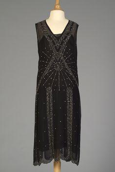 Evening dress of black silk chiffon with beaded design, American, mid 1920s, KSUM 1986.103.290.
