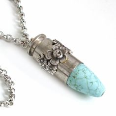 Turquoise and Silver Bullet Pendant Ammo Necklace ♥