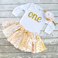 Pink Gold One 1st First Birthday Outfit Glitz by ThePickledPeanut