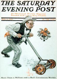 """Man Mowing Lawn,"" Aug. 6, 1910, by J. C. Leyendecker"