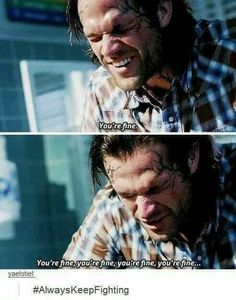 Always keep fighting Castiel, Supernatural Memes, Supernatural Crossover, Supernatural Seasons, Keep Fighting, Super Natural, Jared Padalecki, Sam Winchester, Superwholock