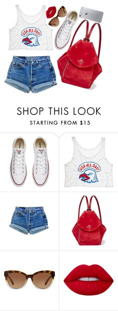 """USA in Rio"" by maddog22 ❤ liked on Polyvore featuring Converse, Levi's, MANU Atelier, Michael Kors, Lime Crime, Olympics, rio and olympicsinrio"