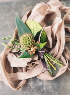Thistle buttonhole on ribbon